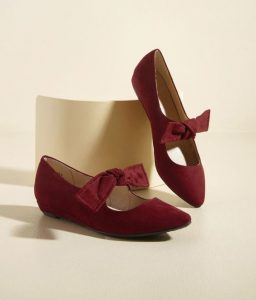 Burgundy Red Pointed Toe Flats