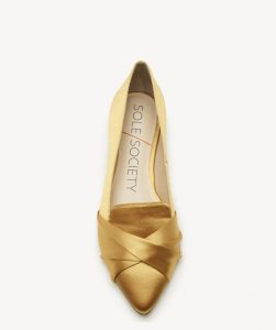 Gold Pointed Toe Flat Bellies