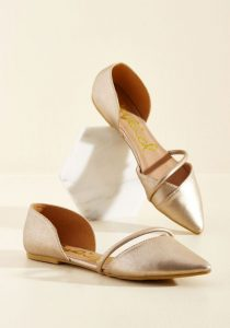 Gold Pointed Toe Flat Shoes