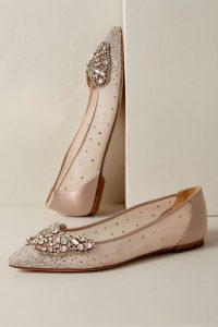 Gold Pointed Toe Flats