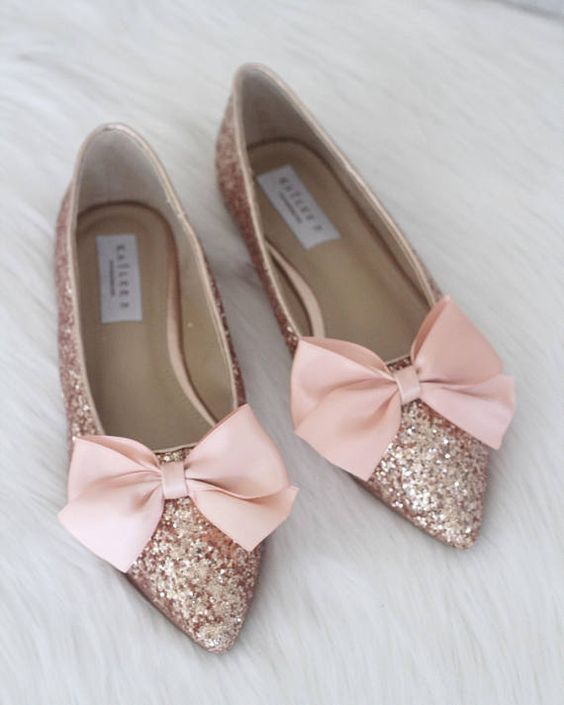 Gold Pointed Toe Flats With Bow