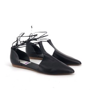 Leather Pointed Toe Flats With Ankle Strap