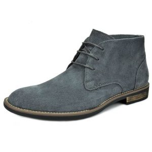 Mens Lace Up Gray Chukka Boots