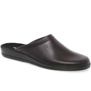 Mens Leather Mule Slippers