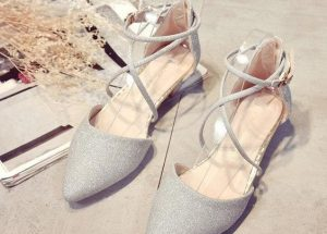 Pointed Silver Toe Flats