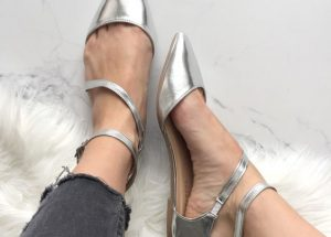 Pointed Toe Flats Silver