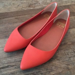 Red Leather Pointed Toe Flat