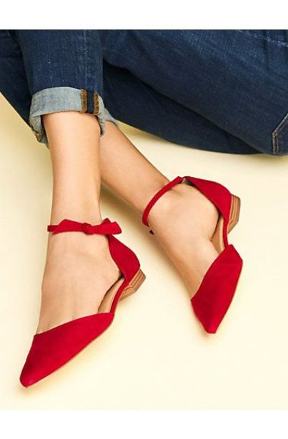 Red Pointed Toe Flats With Ankle Strap