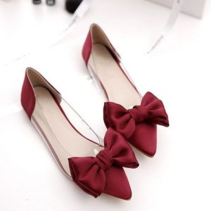 Red Pointed Toe Flats With Bow