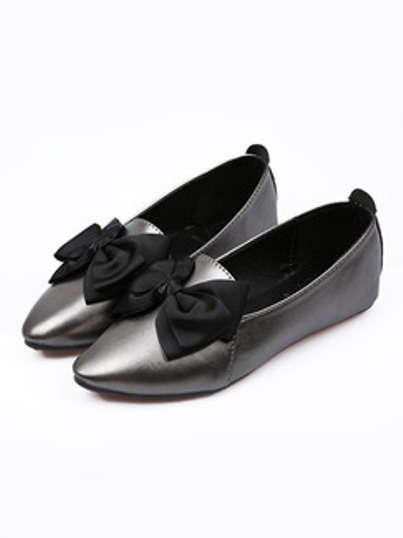 Silver & Black Pointed Toe Flats