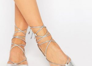 Silver Metallic Pointed Toe Flats