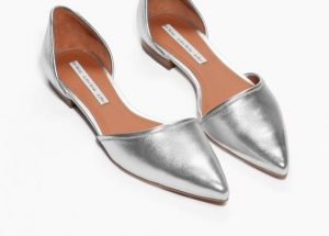 Silver Pointed Toe Flats For Women