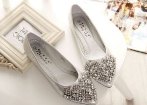 Silver Pointed Toe Flats Shoes
