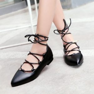 Strappy Black Pointed Toe Flats