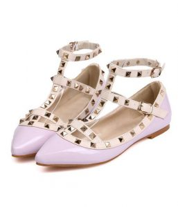 Strappy Pointed Toe Flats With Stud
