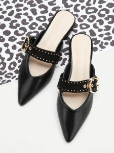Studded & Buckled Pointed Toe Shoes