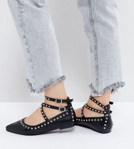 Studded Pointed Toe Ankle Strap Flats
