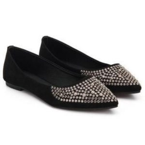 Studded Pointed Toe Flat Shoes