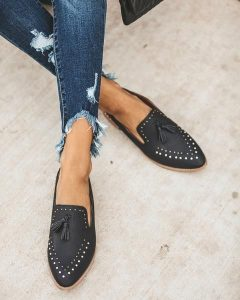 Studded Pointed Toe Loafers