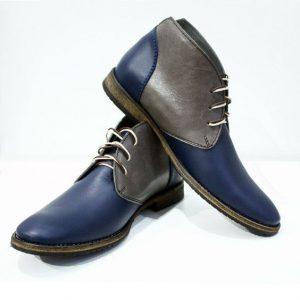 Two Tone Mens Gray Chukka Boots