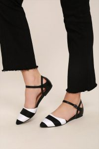 White & Black Pointed Toe Flats